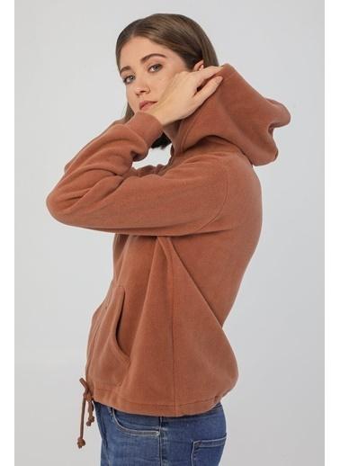 Modaset Kapüşonlu Polar Sweatshirt Taba Kahve